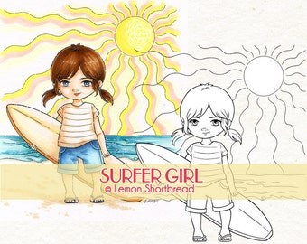Digital Stamp Surfer Girl, Digi Download, Beach Summer Sports, Surfing Children's, Clip Art, Coloring Page, Scrapbooking Supplies