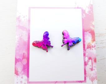 Butterfly earrings Butterfly jewellery Butterfly jewelry butterfly stud earrings butterfly studs pink butterfly earrings rainbow butterfly