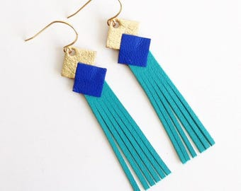 """Leather Earring """"mini fringe"""" gold-Cobalt-Blue Lagoon women jewelry gold plated bail made manually customizable"""