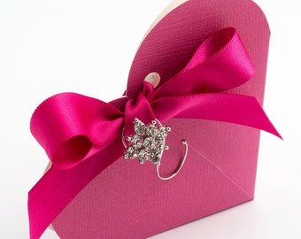 10 Hot Pink Heart Shaped Favour Boxes