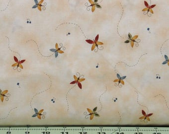 Red, Blue and Gold Butterflies on a Mottled Ivory Background Cotton Quilt Fabric, Shine, Red Rooster Fabrics, Fat Quarter, RER467526433-MUL1