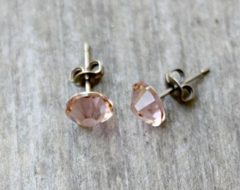Titanium Earrings, Vintage Rose Swarovski Crystal, Hypoallergenic