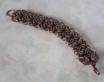 Chainmaille Byzantine Circles Copper Bracelet 'The Wise Old Owl'