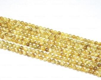 "Natural Yellow Cats Eye Smooth Round Ball Loose Gemstone Beads Strand 15"" 6mm - Jewelry Making"
