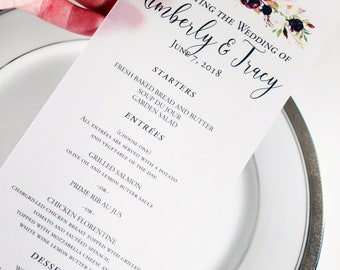Vellum Wedding Menus set of 20, Wedding stationary, vellum stationary, boho wedding cards, vellum cardstock menus, day of wedding stationary