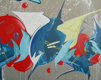 Abstract Graffiti Art Print Wall Decor Image Self-Adhesive - Wallpaper Sticker