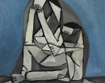 Mother and Child (Cusbism Series), Handmade Oil Painting on canvas By Nattawat Pansaing