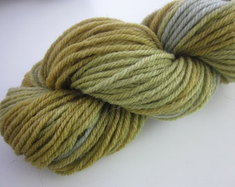 50g Spring Woods Golden Brown Green Blue Space Dyed Natural Dye DK Wool Yarn