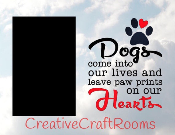 Pet Memorial Frame, Dogs come into our lives and leave paw prints on our Hearts frame, Rainbow Bridge Pet Loss Frame, Dog Memorial Frame