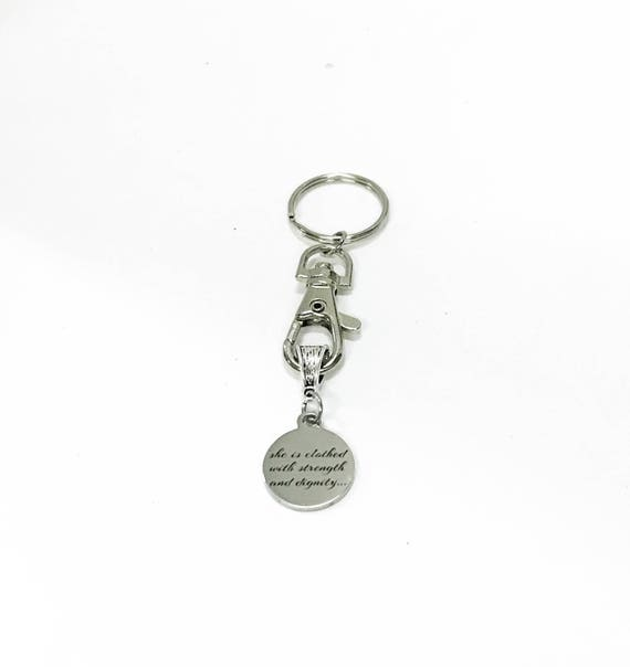 She Is Clothed With Strength And Dignity Keychain, New Car Gift For Daughter, Scripture Keychain, Proverbs 31:25 Bible Verse Keychain Gift
