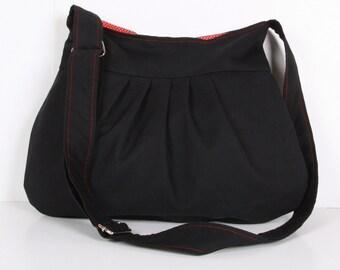 Messenger bag / Everyday bag / Pleated Bag /Tote / Shoulder Bag / Adjustable strap / Grey White Black Canvas / Cross Body / Diaper Bag