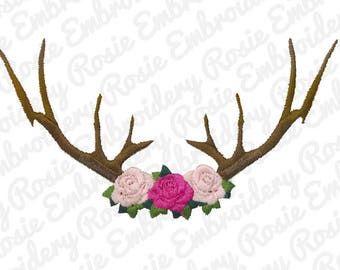 Deer Antlers Silhouette with Roses Embroidery Design Instant Download Digital Pattern - Hunting Animal Forest Natural flowers southern RE67