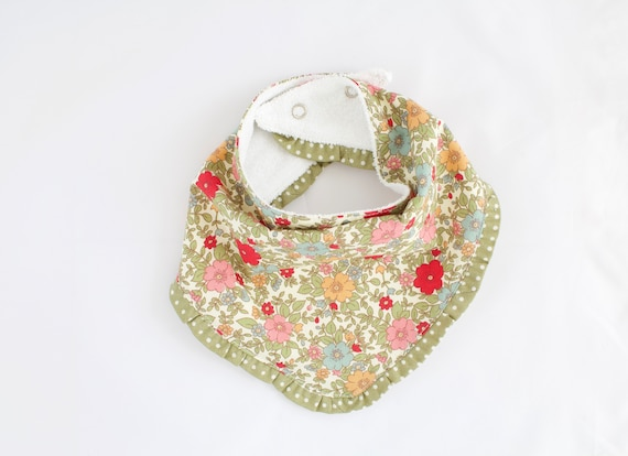 Cotton flower and spot bandanna bib lined with terry towelling