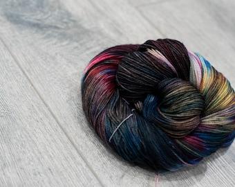 Canadian Hand-dyed sock yarn. 70/20/10 SW Merino/Cashmere/Nylon. 115g 400 yards. Ready To Ship. Nyan. Rainbow yarn