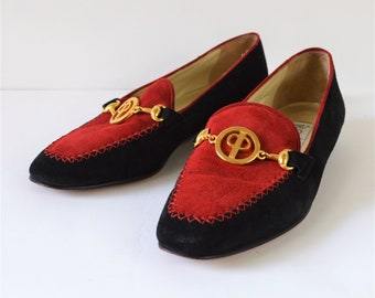 Vintage Shoes Black and Red Suede Italian Loafers Womens Size 6 1/2 B by Paloma Made in Italy Very Nice Shoes