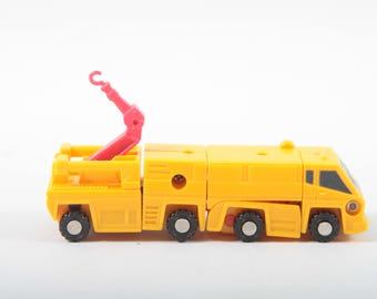 Transformers, Stone Cruncher, Excavator, G1, Micromasters, Vintage, Toy, Yellow, Construction, Land, Vehicle, Robot ~ The Pink Room ~ 161219