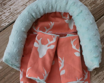 coral deer with mint minky headsupport and strap covers