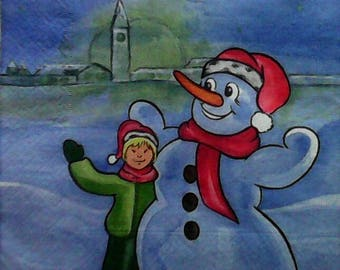747 the child and the SNOWMAN snow 1 towel paper 40 X 40