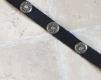 Black Leather Choker  / 3 Clear Gemstones / Celtic Center (custom sized)