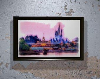 Magic Kingdom Print - Disney World Wall Art - Kids Room - Disney World Gift - Watercolor - Cinderella's Castle - Wall Art - Decor - Gift