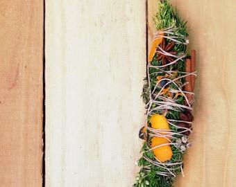 Artisan Harvest Festival Smudge Stick Wand for Lammas, Mabon & Samhain