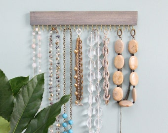 driftwood gray wood hanging necklace display organizer with gold (brass) or nickel (silver) hooks