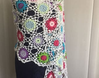 Crocheted linen floral shawl