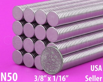 "50 3/8"" x 1/16"" Neodymium Magnets - N50 - Super Strong Rare Earth Disc Magnets - Fridge Scientific Magnets - 10mm x 1.5mm - .375 Inch"