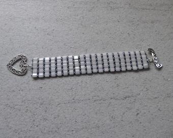 Sale - 30% white glass Pearl woven Bracelet