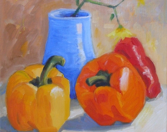 Tri Color Sweet Peppers Red Yellow and Orange//Still Life Original Oil Painting//10 x 10 Canvas Kitchen Art