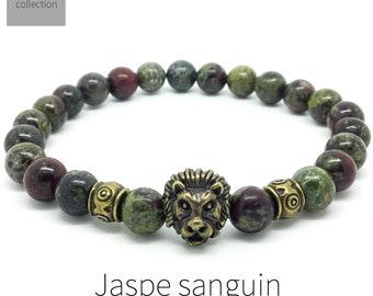 Men's lion jasper bracelet, yoga mala meditation bracelet, boho beaded stretch bracelet, gift for men, Wildcoastjewels