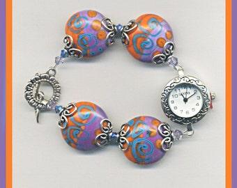 Handmade Orange, Turquoise & Purple Lentil Bead Bracelet Watch