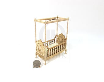 "Wooden 1:12 Scale Miniature The ""Berit"" 4 Poster Crib For Doll House [Unfinished]"