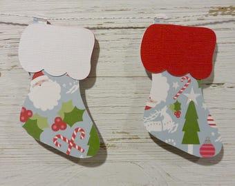 Christmas Stocking Garland, Santa Decor, Christmas Stocking Bunting with Santa, Candy Cane Christmas