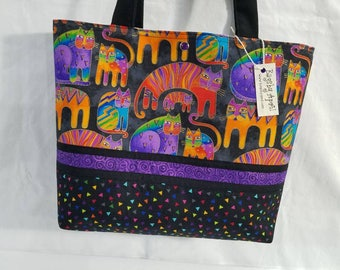 Laurel Burch FABRIC Fantastic Felines purse tote bag