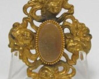Gilt Brass Gibson Girl Brooch Edwardian Antique