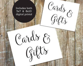 Wedding Printable - Cards & Gifts - Downloadable PDF - Wedding Signage