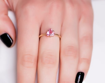 Pink Tourmaline Ring, Engagement Ring, Trillion Ring, Simple Engagement Ring, Gemstone Ring, Gold Stacking Ring, Solitaire Ring, GR0459