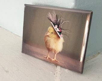 Chicks in Hats Chicken in A Pink Black Feathered Miniature Hat Refrigerator Magnet Baby Animals