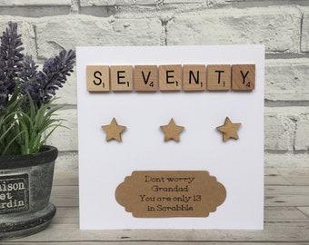 70th Birthday Card, Personalised 70th Birthday Card, 70th Birthday Scrabble Card, 70th Birthday Milestone Card