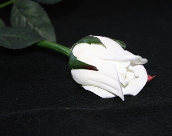 1 White Princess Rose Bud - Barely Blooming - Artificial Flowers, Silk Roses - PRE-ORDER