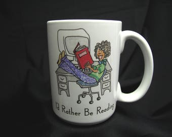 Vintage Reading Book Library Coffee Mug Tea Cup Retro I'd Rather Be Reading Librarian Education Teacher