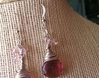 Sterling Silver,Wire wrapped , dangle earrings 12mm purple quartz earrings