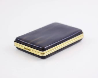 Tano of Madrid card case, faux tortoiseshell business card case, lucite bakelite credit card hard case, cigarette case