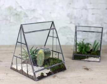 Large Glass Terrarium Triangular Scandinavian Pyramid Planter Indoor Glass Greenhouse Zinc Vintage Style - LOPM15563