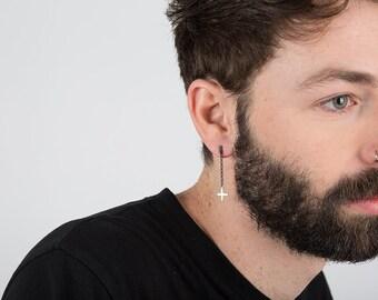 Cross Jewelry, Cross Jewelry for Men, Cross Earring, Long Cross Earring, Men's Earring, Earring for Guys, Single Earring, Long Earring