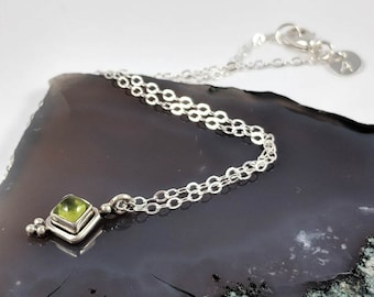 Peridot Pendant Necklace Peridot Cabochon Gemstone Necklace Sterling Silver