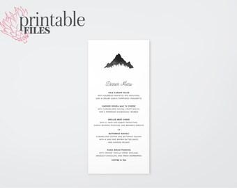 The Kendall Watercolour Mountain Wedding Menu Card (Printable)