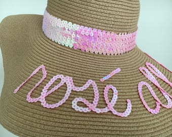Custom Sequin Floppy Sun Hat with Thick Sequin Band