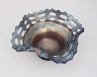 Pearlescent Dark Blue Carnival Glass Bowl in Fenton Open Edge Pattern Basket with AB Surface